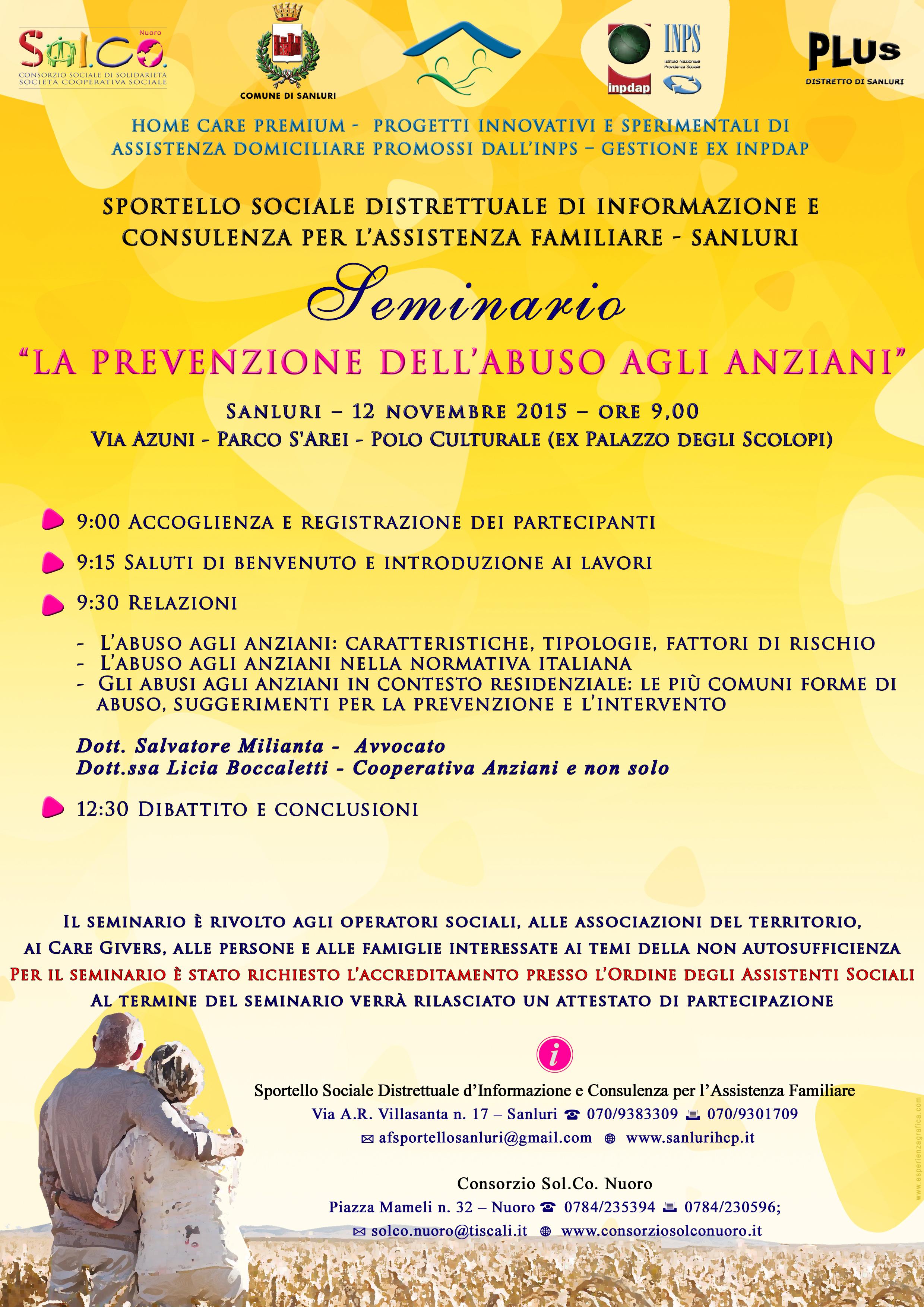 """Seminario  """"LA PREVENZIONE DELL'ABUSO AGLI ANZIANI"""""""