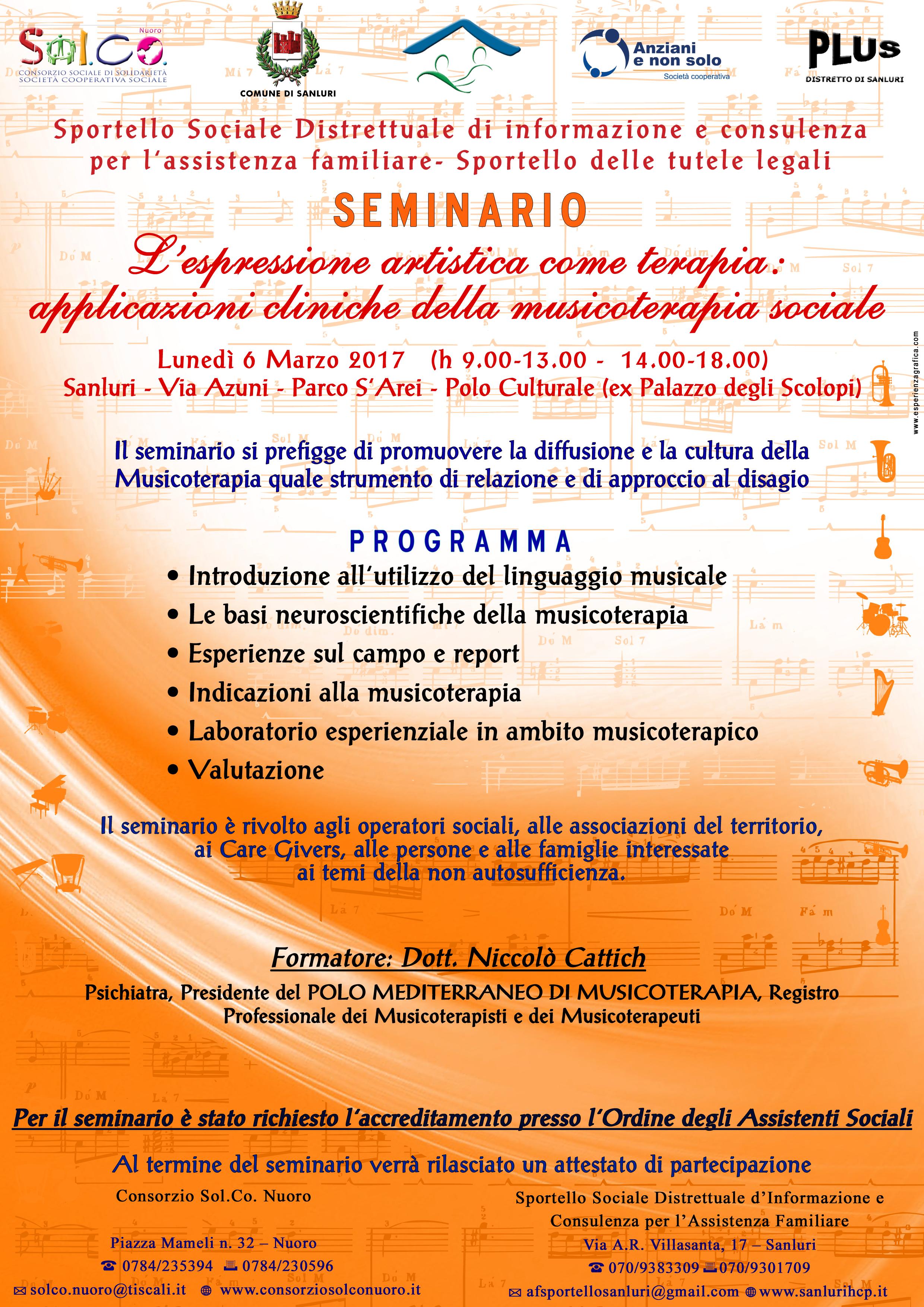 """PLUS DISTRETTO DI SANLURI – PROGETTO HCP 2014 - """"SEMINARIO L'ESPRESSIONE ARTISTICA COME TERAPIA: APPLICAZIONI CLINICHE DELLA MUSICOTERAPIA SOCIALE"""" - COMUNICAZIONE"""